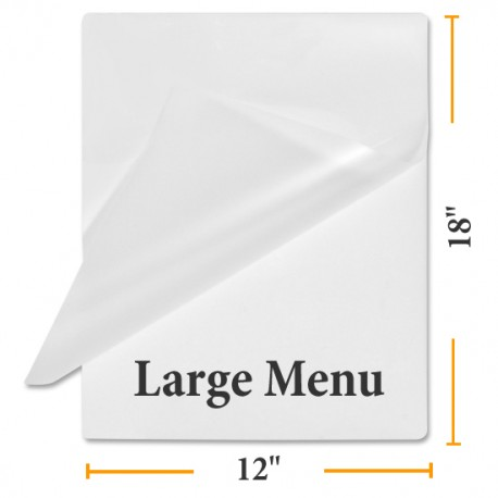 "12"" x 18"" MATTE/CLEAR Large Menu Size Laminating Pouches"