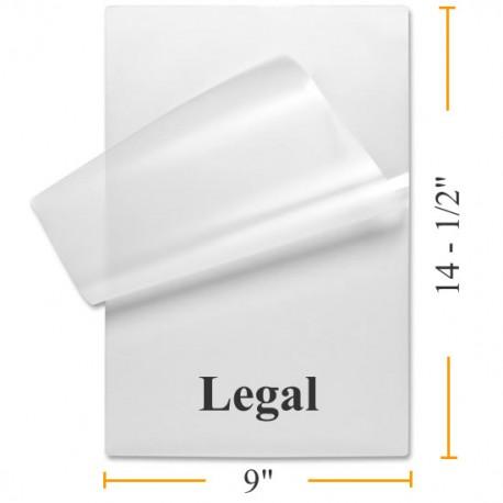 "9"" x 14 1/2"" MATTE/MATTE Legal Size Laminating Pouches"