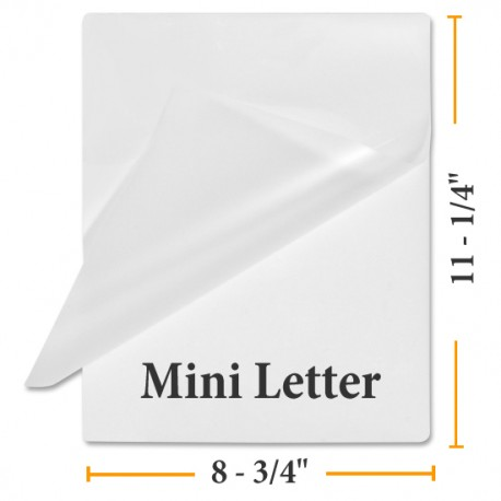 "3 MIL 8 3/4"" x 11 1/4"" Mini Letter Laminating Pouches"